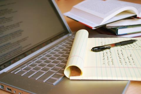 Pen, pad and laptop